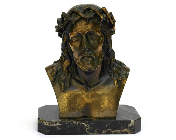 Jesus Portrait Bust on Marble Base. French Vintage Christ Statuette. Art Deco Paperweight Statue. Religious Art. Christian Gift.