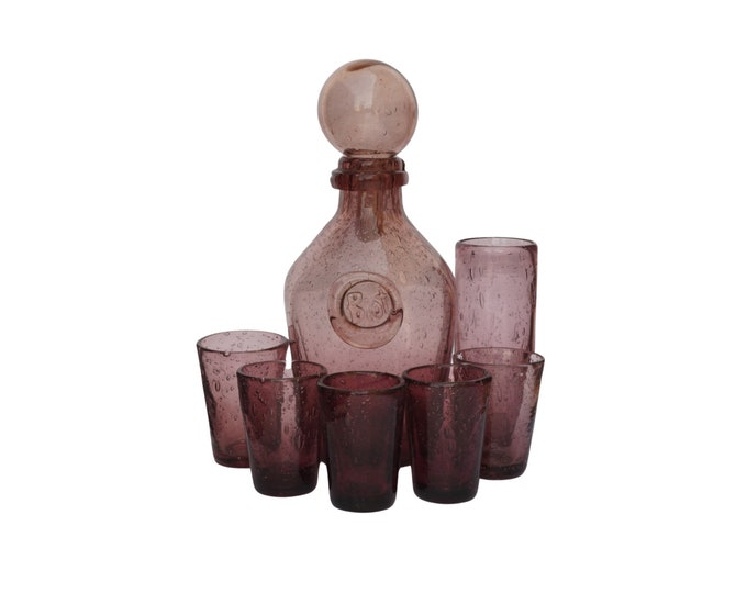 French Biot Decanter and Shot Glass Set, Handblown Amethyst Bar Glassware