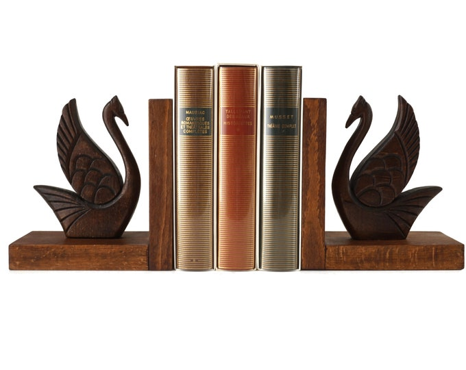 Art Deco Wooden Swan Bookends,  Pair of Bird Figurine Book Ends, French Vintage Office Decor