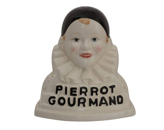 French Pierrot Gourmand Lollipop Stand, Ceramic Double Clown Face Candy Store Display