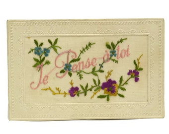 Antique Embroidered Post Card.