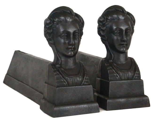 French Fireplace Andirons, Antique Cast Iron Firedogs
