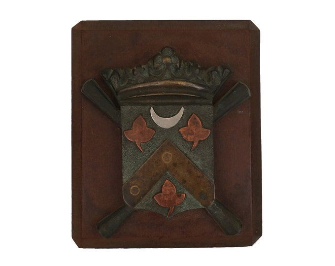 Vintage Heraldic Crest Paperweight, Arts & Crafts Bronze and Wood Shield, Family Coat of Arms