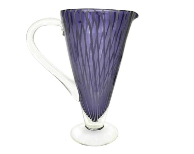 Vintage Murano Glass Cocktail Pitcher, Purple Striped Vase, Retro Barware