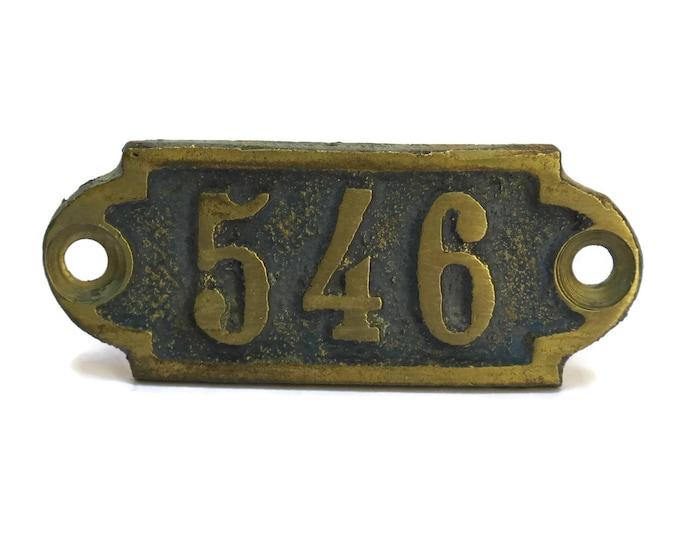 Hotel Door Number 546. French Antique Bronze Number Tag. Numbered Bronze Plaque.