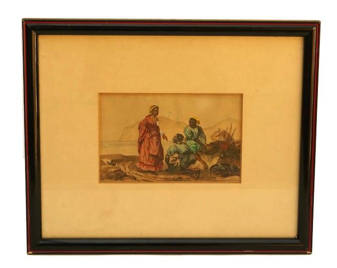 Antique Caribbean Coastal Art Print, Hand Colored Engraving, Curiosity Cabinet Decor
