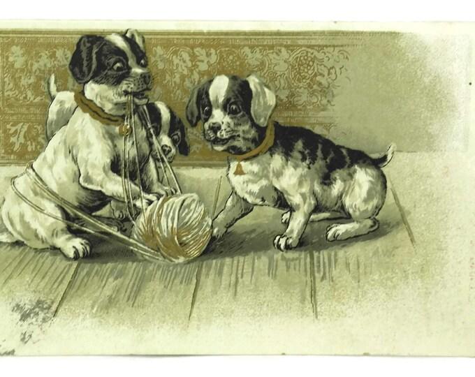 Antique Puppy Dog Postcard. Illustrated Art Print Post Card. Dog Lover Gift. Old Greeting Card Paper Ephemera Scrapbook Craft Supply