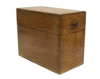 Antique Wood Filing Box.