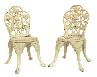 Miniature French Garden Chairs Pair. Cast Iron Dollu0027s Furniture. Shabby  Home Decor.