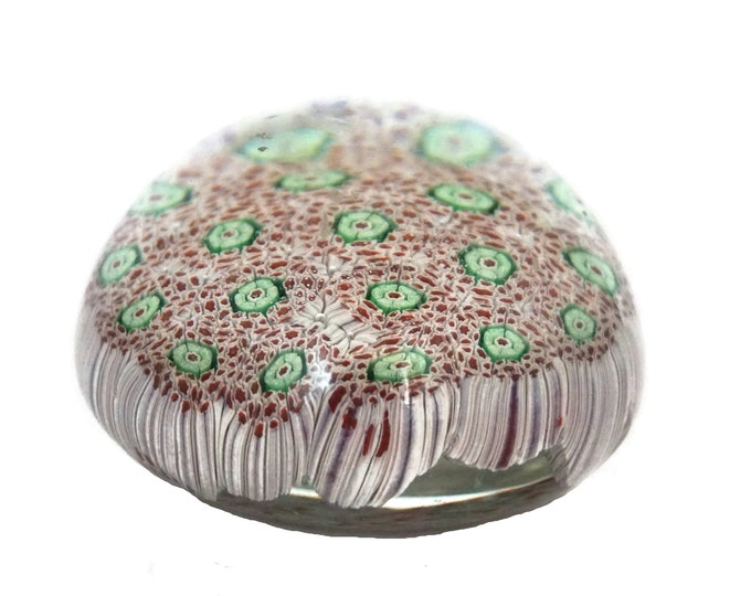 Vintage Murano Glass Millefiori Flower Paperweight, Desk and Office Decor