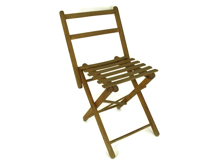 Vintage Wood Folding Stool. Small Rustic French Fishing & Camping Chair. Garden Decor and Gifts.