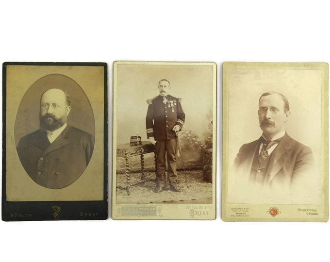 Antique Men Photo Portraits. Set of 3 French Cabinet Cards. Antique Sepia Photographs CDV. Antique Military Photograph.