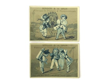 French Trade Cards with Advertising Prints. Victorian Trade Cards with Children. Bergier and Bruin Trade Cards.