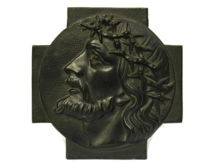 Bronze Wall Hanging Plaque by L. Coudere. Portrait of Jesus Christ. Antique French Religious Art. Christian Gift.