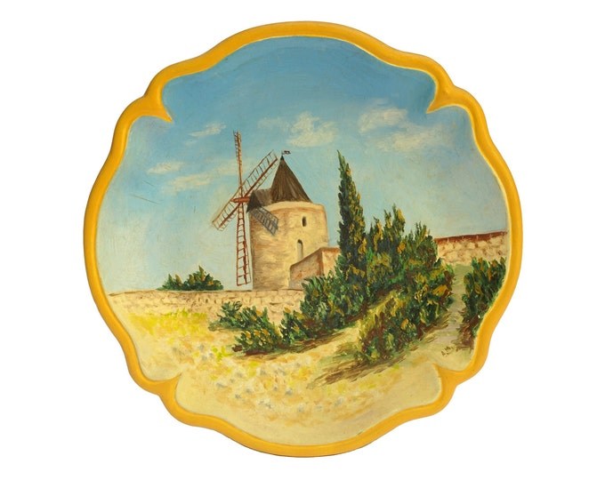 Provence Hand Painted Wall Plate, Vintage French Windmill Pottery Souvenir