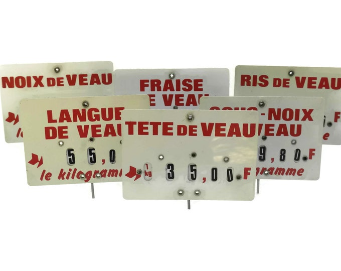 Veal Butchers Price Ticket Label. French Vintage Store Display Sign. Country Kitchen Decor. Deli Meat Lover & Foodie Gift.