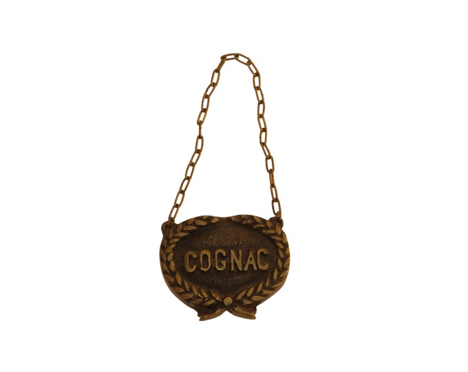 French Cognac Bottle Label, Vintage Brass Liquor Decanter Tag on Chain