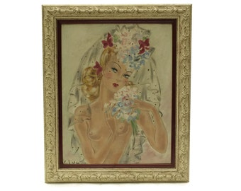 1940s Pinup French Nude Woman Portrait Painting. Naked Lady Original Art on Canvas. Burlesque Home & Wall Decor.