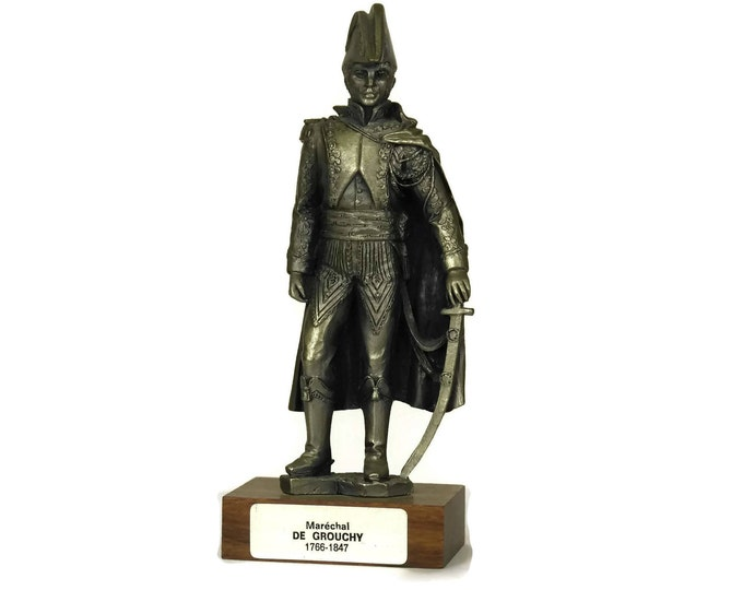 Pewter Soldier Figurine. Vintage French Etains du Prince. Collectible Military Model Figure of Marechal De Grouchy. Gifts For Him.