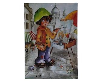 French Vintage Big Eye Print Postcard with Montmartre Artist.