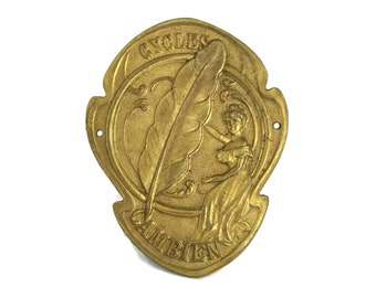 Antique French Bicycle Headbadge. Brass Art Nouveau Lady Bike Plaque. Gift for Cyclists.