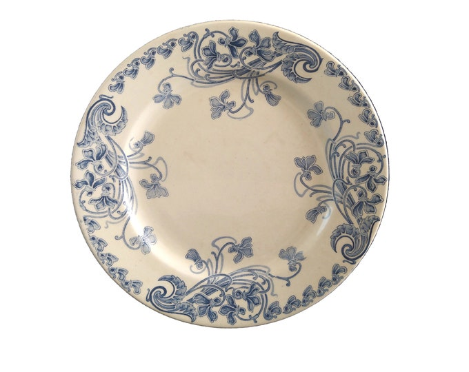 Antique French Blue Transferware Ironstone Plate with Art Nouveau Flowers in Violette Pattern by LG Leon Graves, Faience Wall Hanging Plate