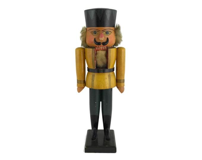 German Nutcracker King Figure. Vintage Christmas Decoration. Fuchtner Seiffen Erzgebirge Hand Carved Wood Toy Soldier.