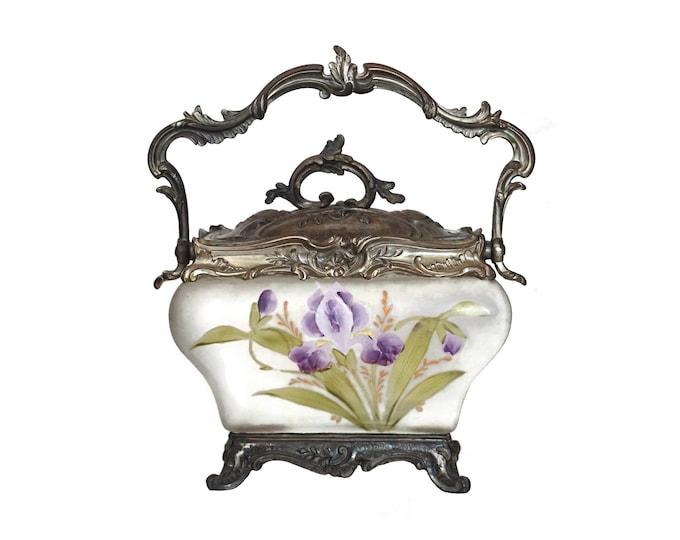 Legras Art Nouveau Glass Biscuit Barrel, French Antique Hand Painted Cookie Jar