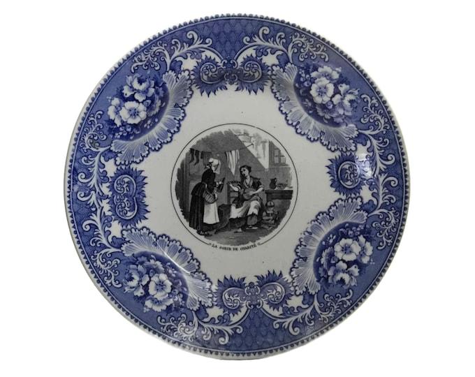 French Porcelain Plate by Vieillard Bordeaux, Antique Blue White China Transferware