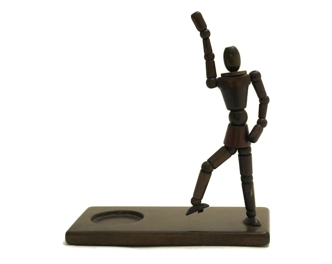 French Miniature Artist Mannequin. Vintage Small Sketching Wooden Model. Retro Articulated Poseable Figurine. Office Desk Decor.