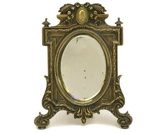 French Antique Bronze Vanity Mirror with Bevelled Glass.
