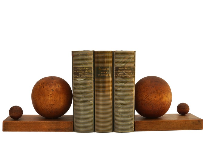 Art Deco Hand Carved Wooden Bookends with Orb Globes, French Office and Desk Decor
