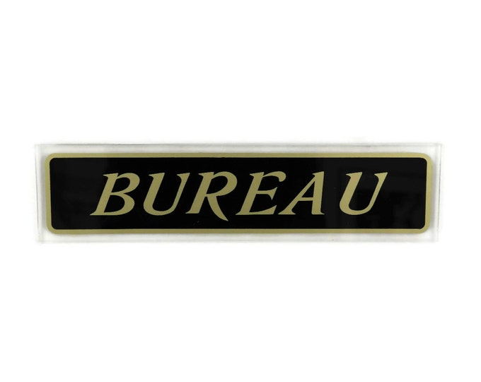 Vintage Office Door Sign. French Bureau Sign. Black and Gold Wall Sign.