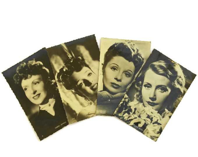 Vintage French Cinema Actress Postcards. Jacqueline Laurent, Micheline Presle, Odette Joyeux, Michele Alfa. Hollywood Glamour Photo Portrait