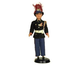 RESERVED for Alan. French Soldier Boy Doll in Military Uniform and Feather Helmet. Vintage Collectible Souvenir Figurine.