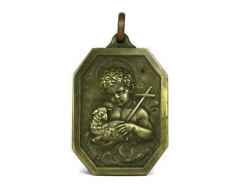Saint John The Baptist Pendant. Lamb of God French Religious Medal. Christian Jewellery Gift.
