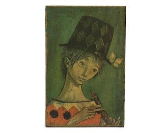 Vintage Harlequin With a Flute Print on Wooden Plaque. Vintage Florentine Art Portrait. Boys Room Decor.