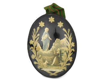 RESERVED for Alan. 1800s French Convent Work Reliquary in Black Oval Frame. Virgin Mary Apparition to Benoîte Rencurel. Religious Decoupage.