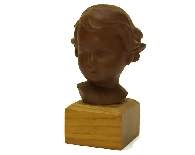 Antique Girl Portrait Bust Figurine. French Terracotta Statuette. Child Head Art Sculpture Nursery Decor.