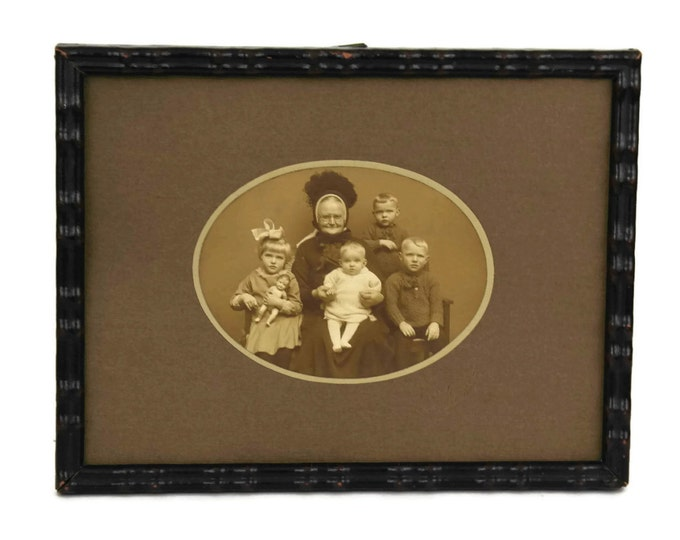 Antique Family Portrait Photo of Grandma and Children. Grandmother Gift.