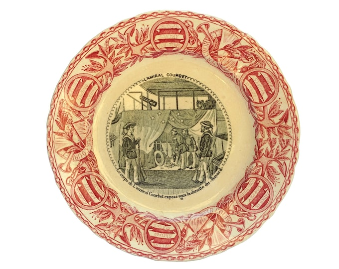Antique Military Transferware Faience Plate by Vieillard Bordeaux, French Indochina History, Nautical Wall Decor