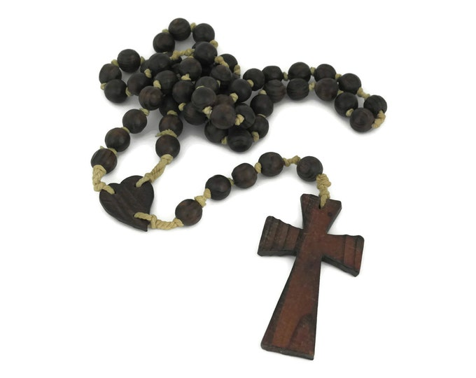 Extra Large French Wooden Monks Rosary Beads.