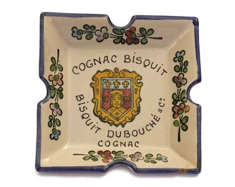 French Cognac Bisquit Advertising Ashtray. Vintage French Faience Hand Decorated Pottery Coin Dish.