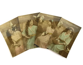 Girl with Pigeons Postcard Collection. Hand Tinted Antique RPPC Postcards.