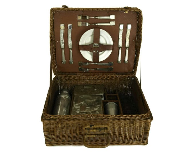Antique French Picnic Basket Hamper with Enamel Plates, Knifes and Forks and Food Storage Boxes. Rustic Basket with Lid. Country Decor.