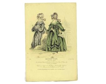 Antique Fashion Illustration. 1838 Fashion Plate from Le Bon Ton. French Engraving.  Ready To Frame Art. Fashionista Gift.