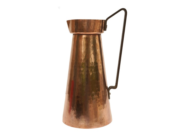 French Copper Pitcher by Villedieu, Country Cottage Kitchen Decor