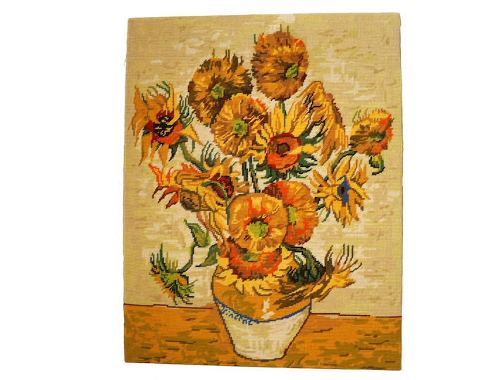 Van Gogh Sunflowers Tapestry Wall Hanging, Vintage Hand Made French Needlework