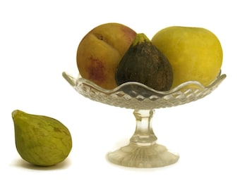 Glass Fruit Bowl. Depression Glass Candy Dish. Antique French Compote.