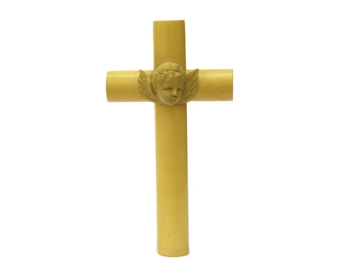 Antique French Cherub Crib Protector Crucifix. French Religious Celluloid Cross. Guardian Angel for Baby. French Baptism Cross.